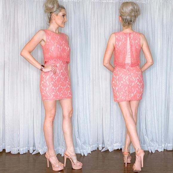Nikki D Dresses & Skirts - Pink Lace Mini Dress